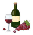 a bottle of red wine a glass of wine and grapes o vector image vector image