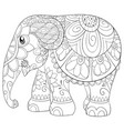 adult coloring bookpage a cute little elephant vector image vector image