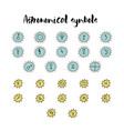 astrology doodle symbols vector image
