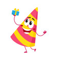 birthday party hat character with smiling human vector image vector image