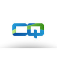 blue green cq c q alphabet letter logo vector image vector image