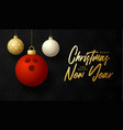 bowling merry christmas and happy new year luxury vector image vector image