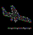 bright mesh 2d aiplane landing with light spots vector image vector image