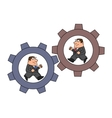 Businessmen in cogwheel machine vector image