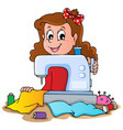 cartoon girl with sewing machine vector image