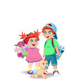 cartoon of cute little kids with flowers and vector image