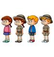 children in different costumes vector image vector image