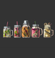 cocktails in mason jar and shaker vector image vector image