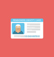 concept of pensioner id cardgrandparent identity vector image