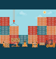 containers with crain and workers working to vector image vector image