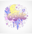 cosmic girl and princess objects space cartoon vector image