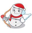 cupid snowman character cartoon style vector image