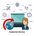 customer service agent with settings vector image vector image