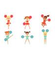 cute little cheerleader girls dancing set girls vector image