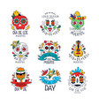 dia de los muertos logo set mexican day of the vector image vector image