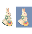 easter bunny with a basket of colored easter eggs vector image vector image