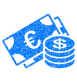 euro and dollar cash grunge icon vector image vector image