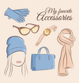 fashion set of a stylish vector image