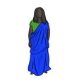 fat african woman with green and blue local vector image vector image