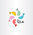 fish in circle abstract symbol vector image vector image