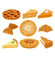flat set of delicious bakery products pies vector image
