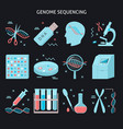 genome research icon set in flat style vector image vector image