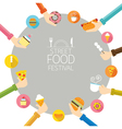 Hands Holding Food with Icons Frame vector image