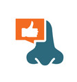 nose with thumb up in chat bubble colored icon vector image vector image