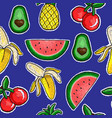 pattern of fruits embroidery patch vector image vector image