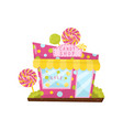 pink candy shop decorated with big lollipops vector image