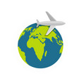 plane on earth icon flat style vector image vector image