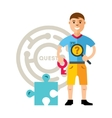 Quest room and man Flat style colorful vector image vector image