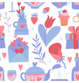 romantic seamless pattern with flower and heart vector image