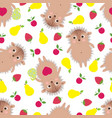 seamless pattern with smiling hedgehogs vector image