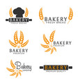 set of bakery shop emblem labels logo and design vector image vector image