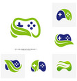 set of nature joystick game logo concept template vector image vector image