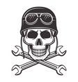 skull in motorcycle helmet with crossed wrenches vector image vector image