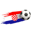 soccer ball fly on background of croatian flag vector image vector image