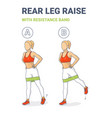 standing rear leg lift with resistance band vector image vector image