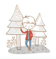 stylish boy cartoon outfit nature background vector image vector image