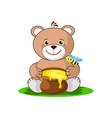 teddy bear with a pot of honey vector image vector image