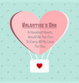 valentines day greetings card with blue pattern vector image