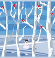 winter landscape with a snowman with birds sitting vector image vector image