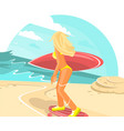 young female with surf board at seashore vector image vector image