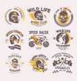 biker logo rider on motorcycle or bike and vector image