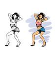 dancing girl with headphones vector image