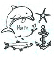 ink hand drawn elements of marine world vector image