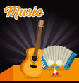 accordion with guitar and maracas vector image vector image
