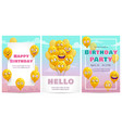 birthday greeting card templates set celebration vector image vector image