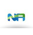 blue green na n a alphabet letter logo vector image vector image